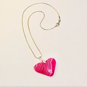 "Magenta ""Be Mine"" Striped Onyx Heart Necklace"